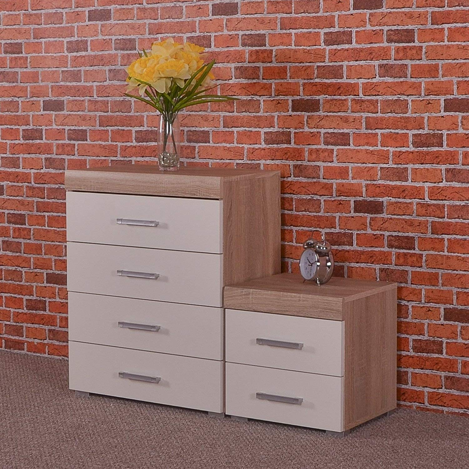 DRP Trading White & Sonoma Oak 4 Drawer Chest & 2 Drawer Bedside Cabinet Bedroom Furniture