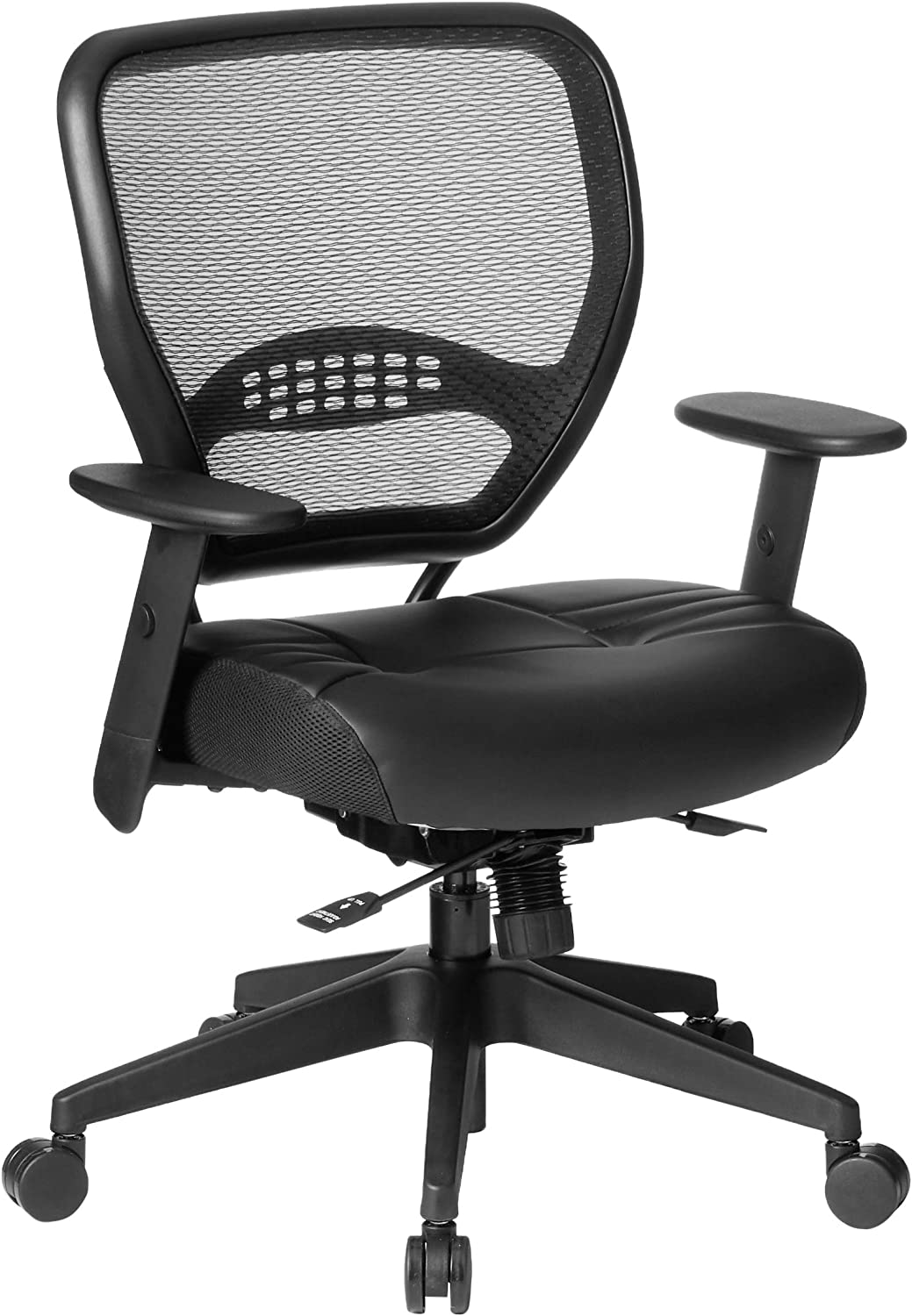 SPACE Seating AirGrid Back and Padded Stitched Bonded Leather Seat, 2-to-1 Synchro Tilt Control, Adjustable Arms, Nylon Base Adjustable Managers Chair, Black