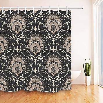 Amazon.com: LB Vintage Damask Floral Design Shower Curtain ...