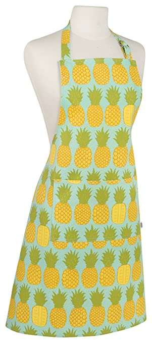 Now Designs Basic Cotton Kitchen Chef S Apron Pineapples Print