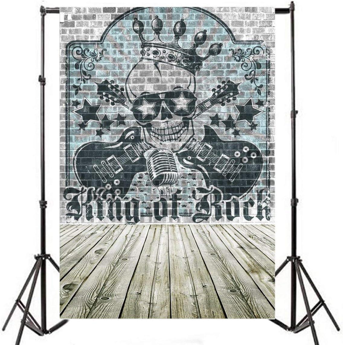 5x7ft Rock Music Photography Background Skull King Guitar Vintage Graffiti Brick Wall Backdrop Punk Vocal Concert Tour Retro Stylish Trendy Man Boy Girl Portrait Photo Studio Props Wallpaper