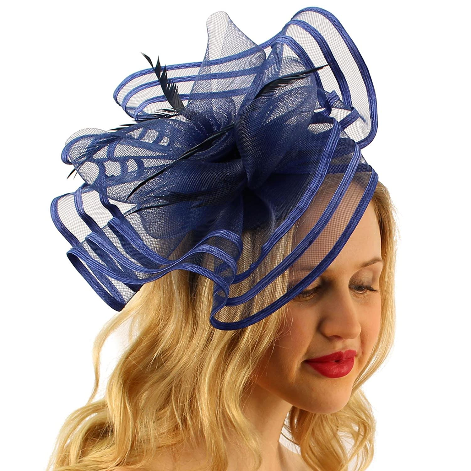 Floral Swirl Net Feathers Fascinators Headband Millinery Cocktail Derby  Black at Amazon Women s Clothing store  3c46770d39d0