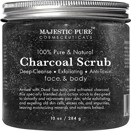 Carbón activado Exfoliante Corporal y Facial Scrub de Majestic puro y natural, 10 oz –