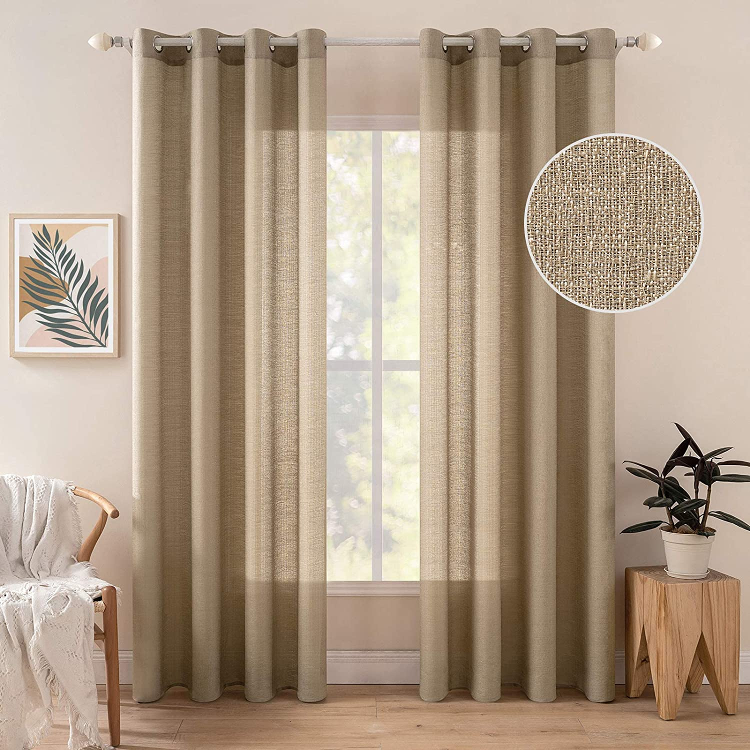 MIULEE Natural Linen Textured Sheer Curtains Window Treatments for Bedroom Living Room Extra Long Semi Light Filtering Privacy Curtains Grommet Voile Drapes 2 Panels W 52 x L 108 inches Gold Brown