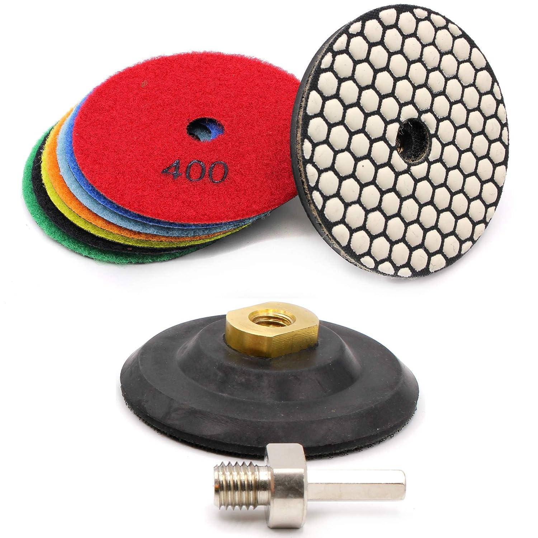 Hobbypower24/® TROCKEN Polierset Polierscheiben Diamantschleifpads 10-tlg Set /Ø100mm M14 Diamant Schleifscheibe f/ür Granit Marmor Naturstein Korn 50//100//200//400//800//1500//3000//Buff//Klettteller//Adapter