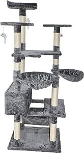 "Roypet Fashion Design 65.3"" Large Cat Tree with Big Hammock, Grey"