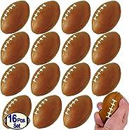 "Mini Foam Footballs 16 Pcs Pack | 3.25"" Inch Party Favor Balls for Kids | Mini Football Stress Ball Bulk | Toy Sports Little"