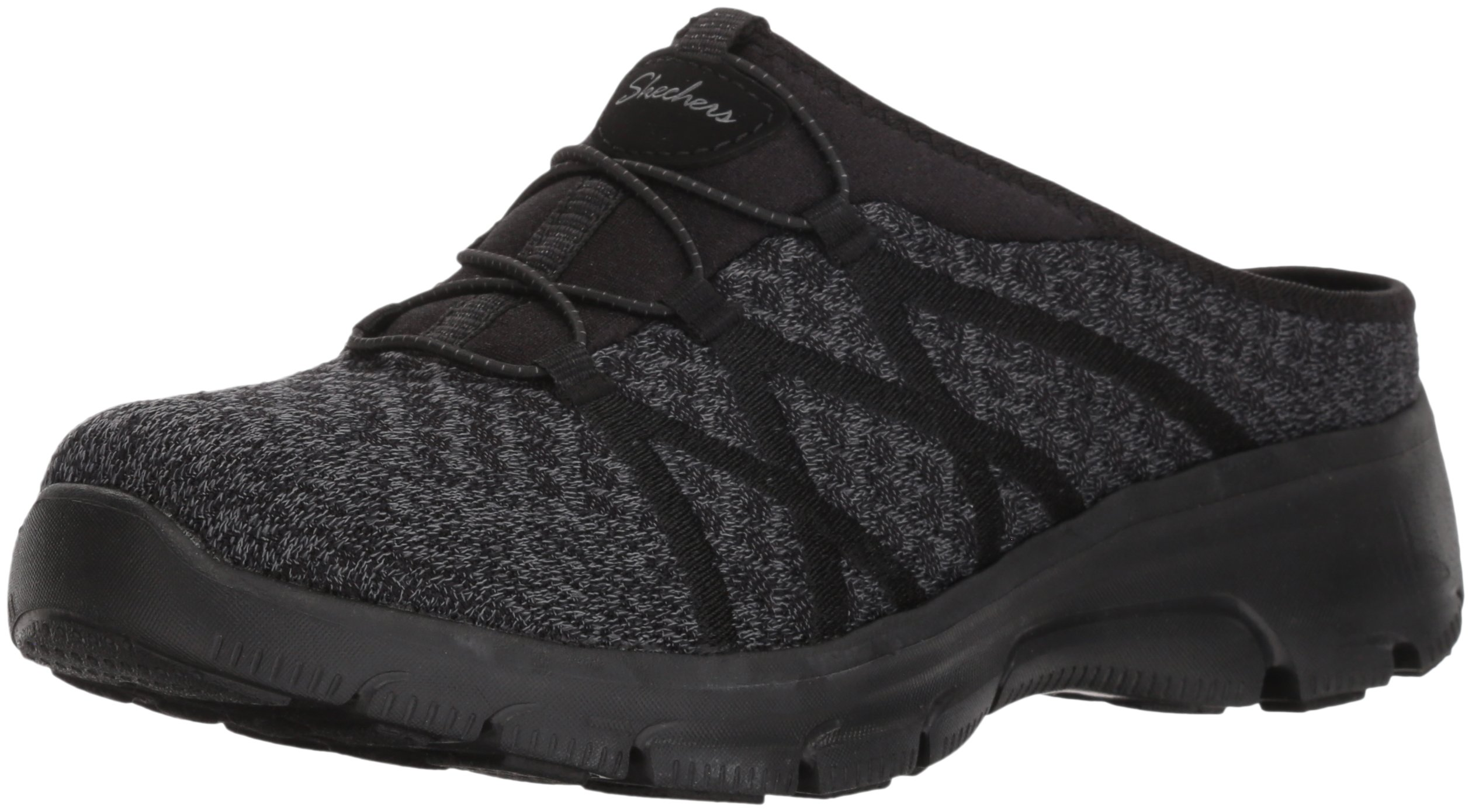 Skechers Women's Knitty Gritty-Knit Bungee Version of The Easy Going-Repute Mule, Black, 7.5 M US