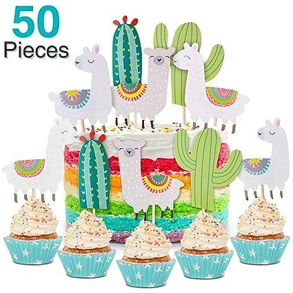 50 piezas Llama y Cactus Cupcake Toppers Feliz cumpleaños ...