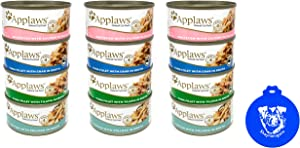 Applaws Additive Free Canned Cat Food in Broth in 4 Flavors: (3) Whitefish & Salmon, (3) Tuna & Tilapia, (3) Catfish & Pollack & (3) Tuna & Crab (12 Cans Total, 2.47 Ounces Each) Plus Silicone Lid