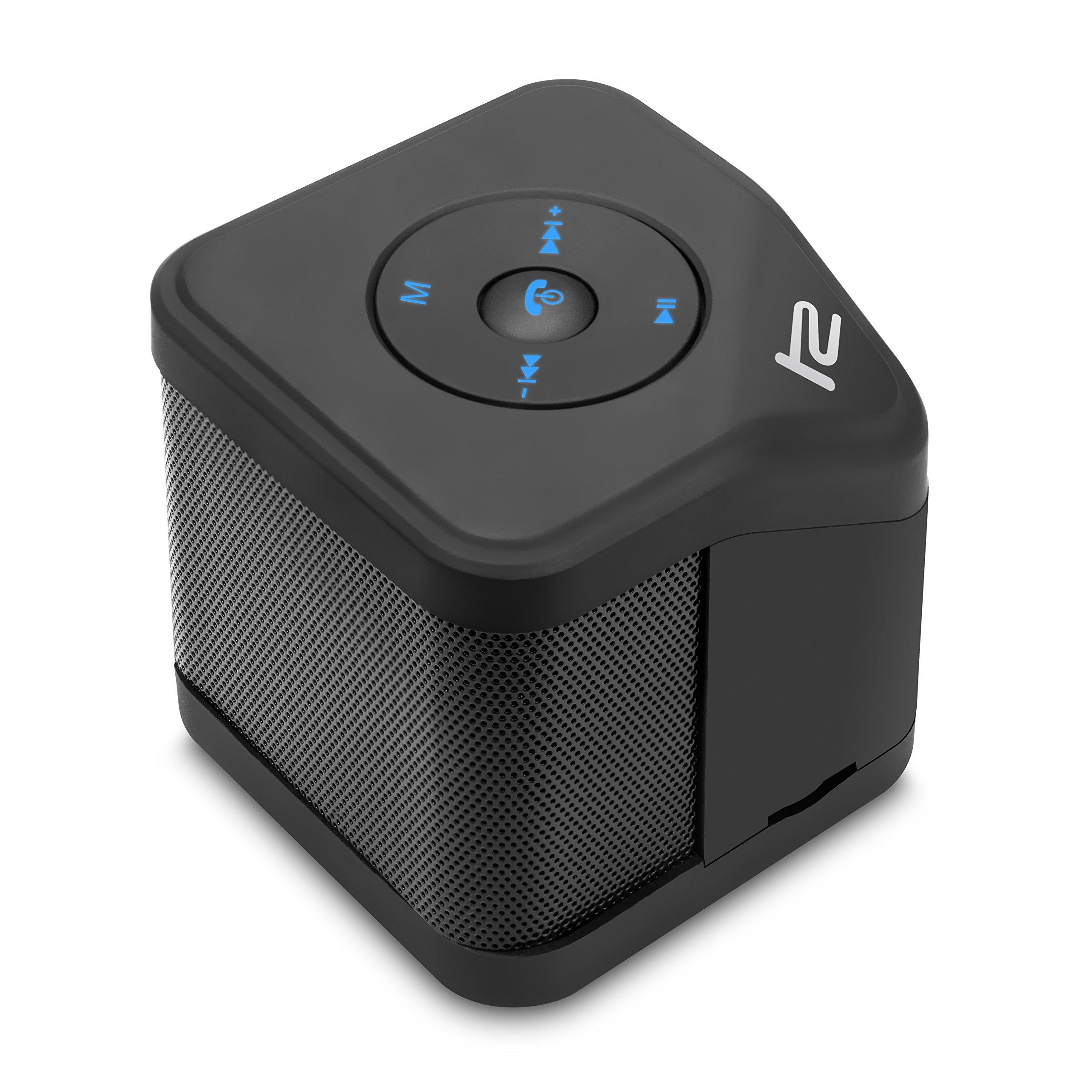 Klip Xtreme BluNote 2 Stereo Speaker- Portable Bluetooth Wireless & Mic- 6 Watt Peak Power, 3W RMS, 40mm Speaker Driver- Mini Pocket Sized- Stream or Connect micro-SD Card- Black Color