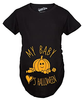 0e1ac7ad553ad Maternity My Baby Loves Halloween Cute Pumpkin Pregnancy Halloween Tshirt  (Black) -S