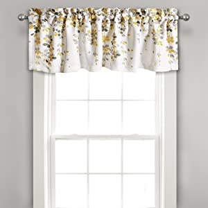 "Lush Decor Weeping Flowers Yellow and Gray Valance Curtain for Windows, 18"" x 52"""