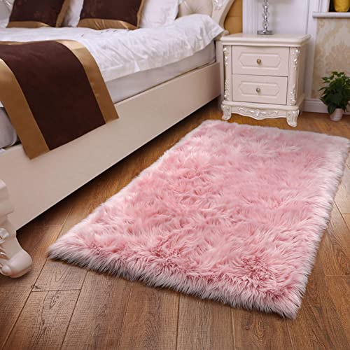 YOH Faux Fur Sheepskin Rug Fuzzy Fluffy Rectangle Pink Area Rugs Bedside Floor Carpet