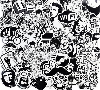 Blue aura super cool new 50 pcs black and white sticker skateboard graffiti decal toy laptop