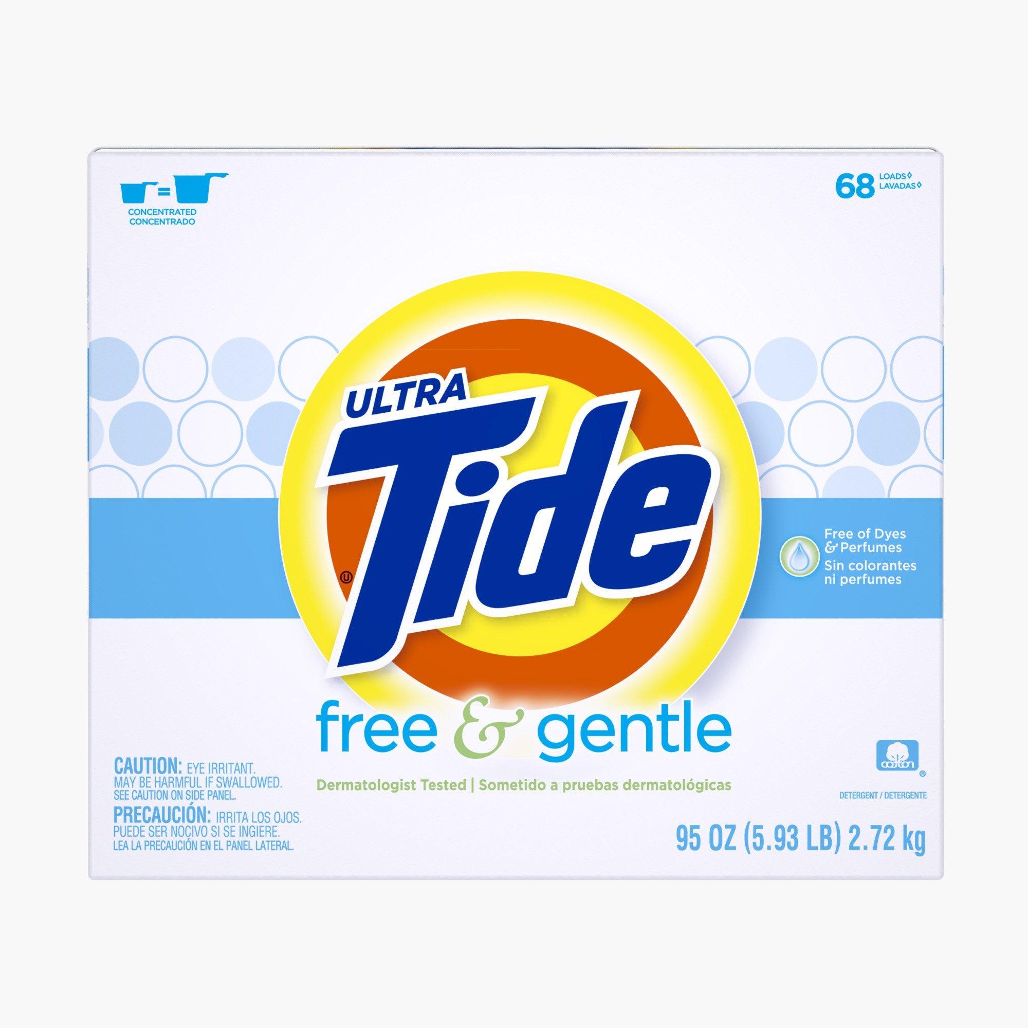 Tide Free & Gentle HE Turbo Powder Laundry Detergent, 68 Loads, 95 Oz by Tide