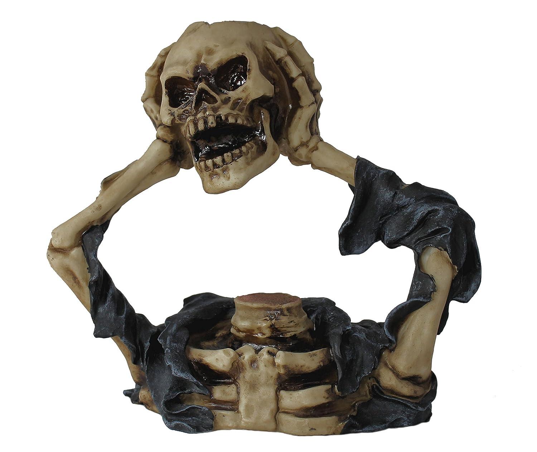 Dekofigur Skelett mit Totenkopf und Teelicht Schädel Totenschädel Mystic Gothik
