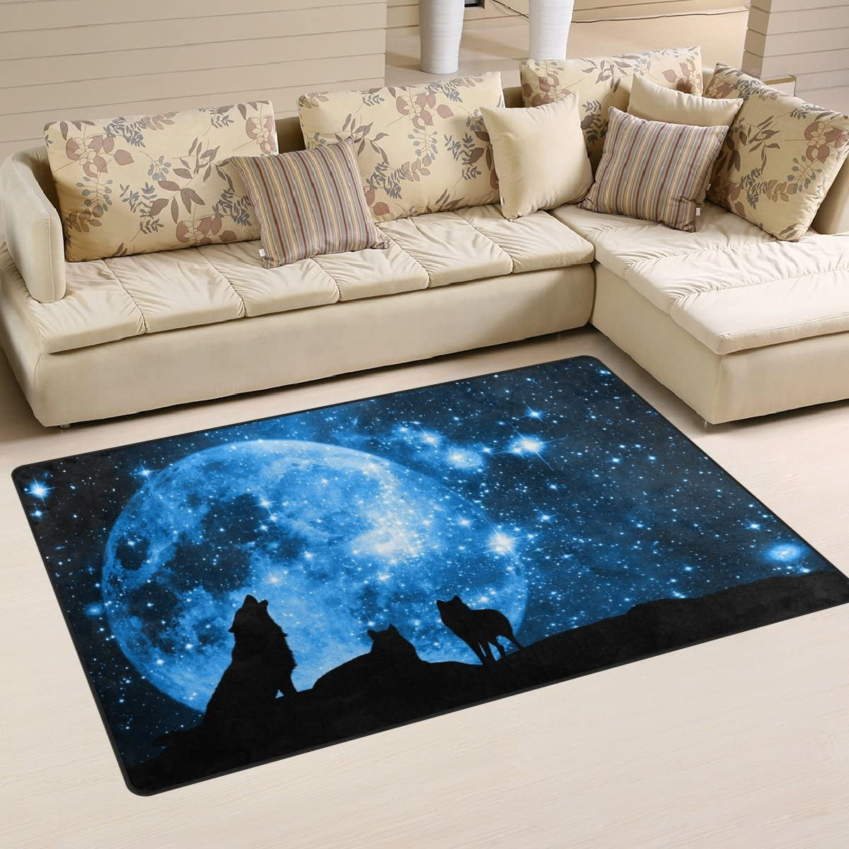 WOZO Starry Night Wolf Full Moon Area Rug Rugs Non-Slip Floor Mat Doormats Living Dining Room Bedroom Dorm 60 x 39 inches inches Home Decor