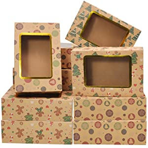 "24 Foiled Christmas Cookie Boxes with Window, Treat Boxes for Doughnut and Cookie, Brown Kraft Bakery Boxes with 3 Designs, Xmas Cookie Gift Baking Box 8.75"" x 5.6"" x 2.75"" for Pastries, Cupcakes"