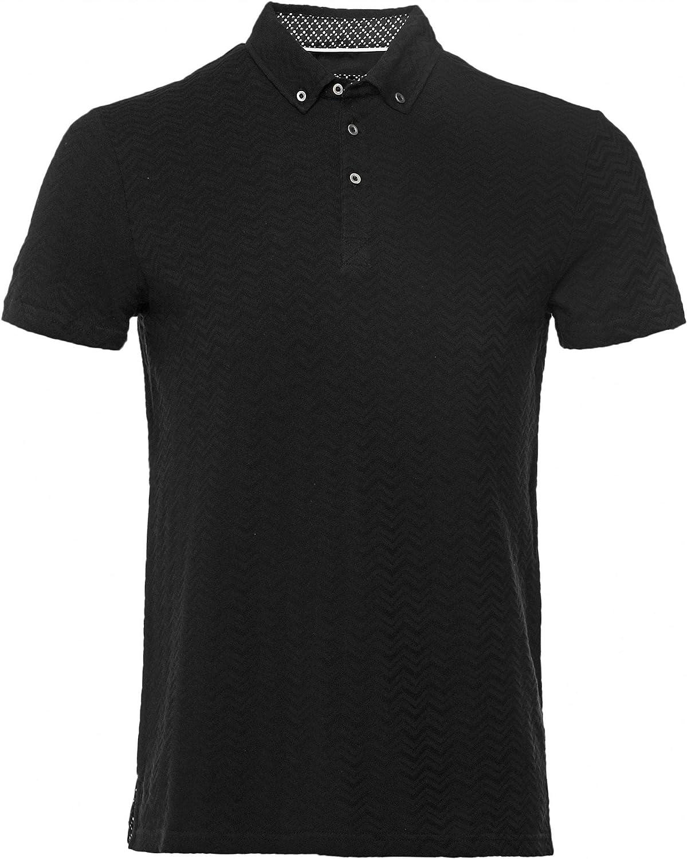 Guide London Mens Jacquard Wave Polo Shirt Black