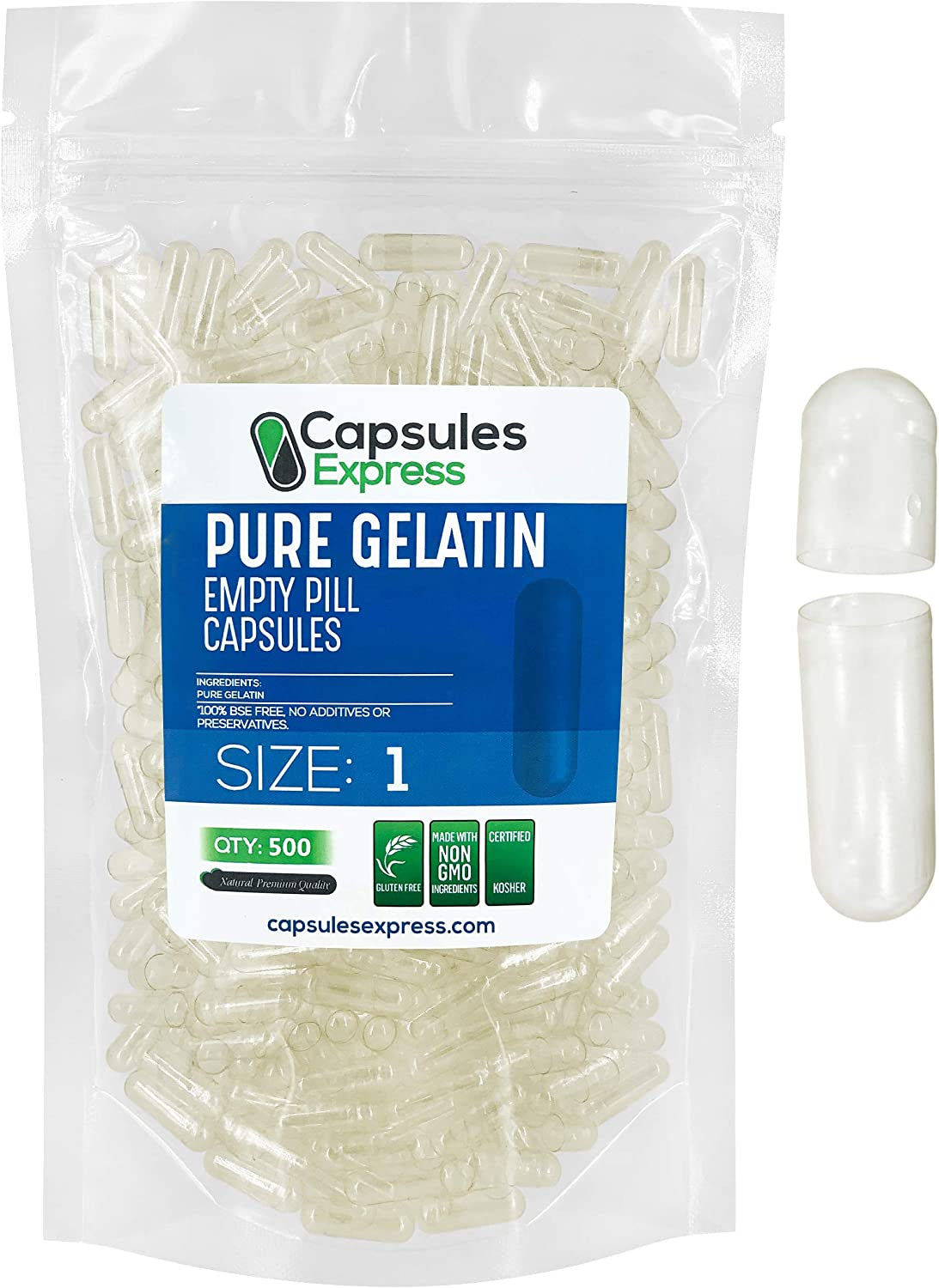 Capsules Express- Size 1 Clear Empty Gelatin Capsules 500 Count - Kosher and Halal - Pure Gelatin Pill Capsule - DIY Powder Filling