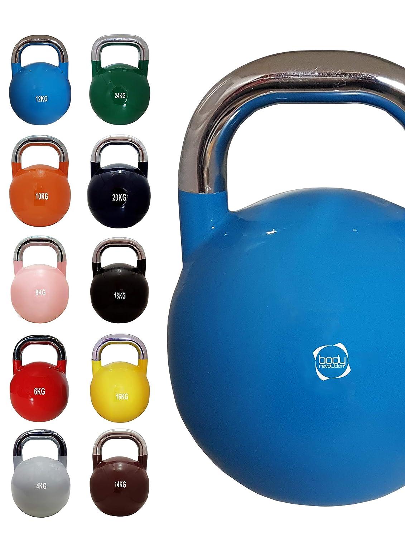 12kg - Bleu Clair Body Revolution Compétition Kettlebells – Compétition Standard Kettlebell Couleurs Simple ou Set Complet - 4kg 6kg 8kg 10kg 12kg 14kg 16kg 18kg 20kg 24kg