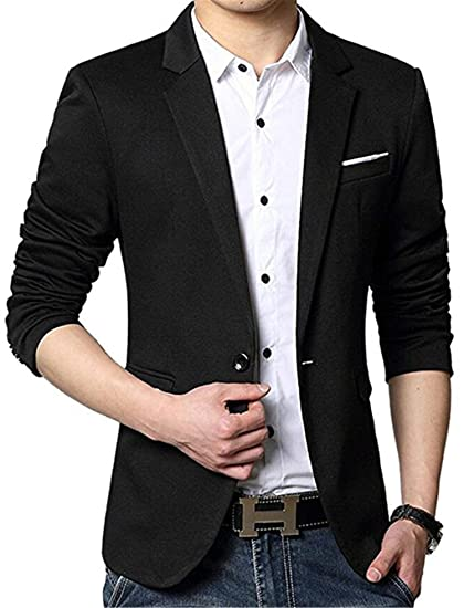 uygmxdnxg de Los Hombres Slim Fit - Stylish Casual Un Botón Bolsillos sólida Suit Coat Chamarra Negocio Blazers at Amazon Mens Clothing store: