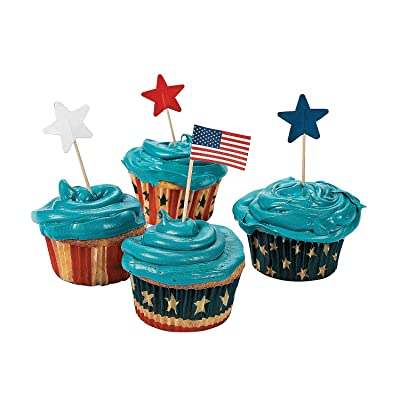 Fun Express - Knextion Patriotic Baking Cups With Pick for Fourth of July - Party Supplies - Serveware & Barware - Misc Serveware & Barware - Fourth of July - 200 Pieces: Disposable Baking Cups: Kitchen & Dining