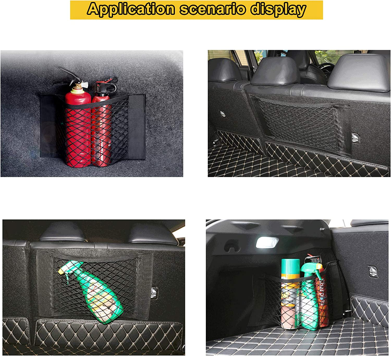 Car Rear Back Seat Organizer Pockets Elastic String Mesh with Strong Magic Tape Black 50 * 25cm 40 * 25cm DMFSHI Car Trunk Storage Net 60 * 25cm Easy To Install//Remove 3 PCS Car Storage Net
