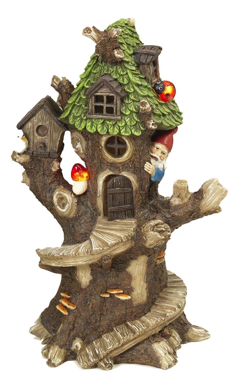 13.5'' Solar Lighted Resin Fairy Garden Gnome Treehouse Spring Garden Home Decor Indoor or Outdoor