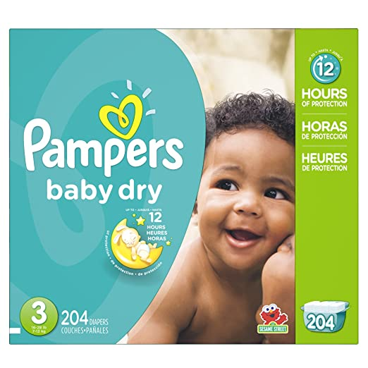 P&G Pampers Baby Dry Diapers Economy Pack Plus, Size 3, 204 Count