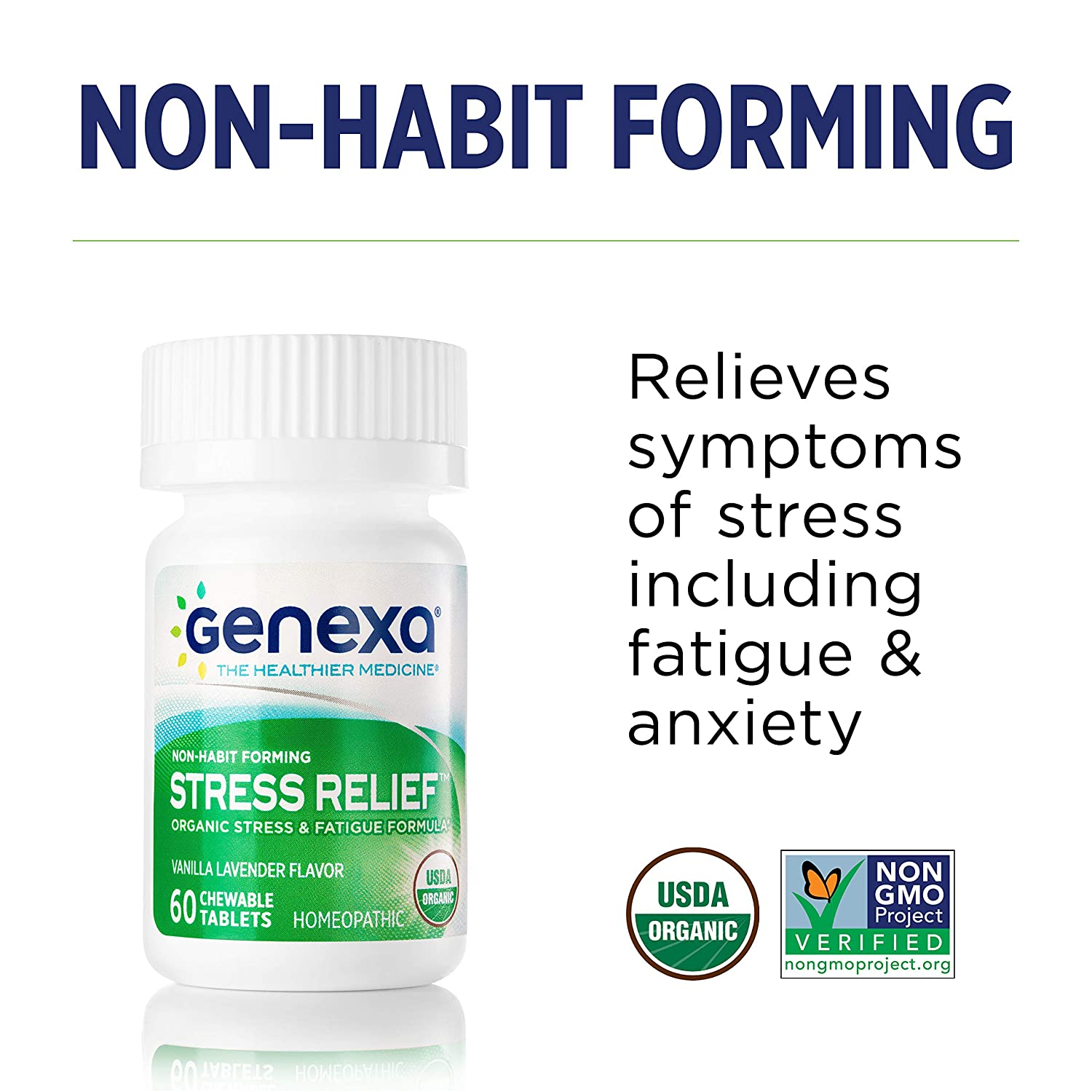 Genexa Stress Relief - Certified Organic & Non-GMO, Physician Formulated,  Homeopathic - Stress &