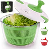 Zulay Kitchen Salad Spinner Large 5L Capacity - Manual Lettuce Spinner With Secure Lid Lock & Rotary Handle - Easy To Use Sal