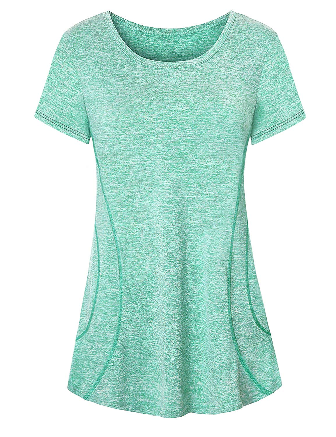 Luranee Athleisure Wear for Women, Cute Exercises Clothes Casual Fancy Cool Knit Polyester Tunic Tops Vintage Soft Unique Stylish Light Basic Nice Flowy Dressy Dry Fit Jersey Outfits Green Medium by Luranee