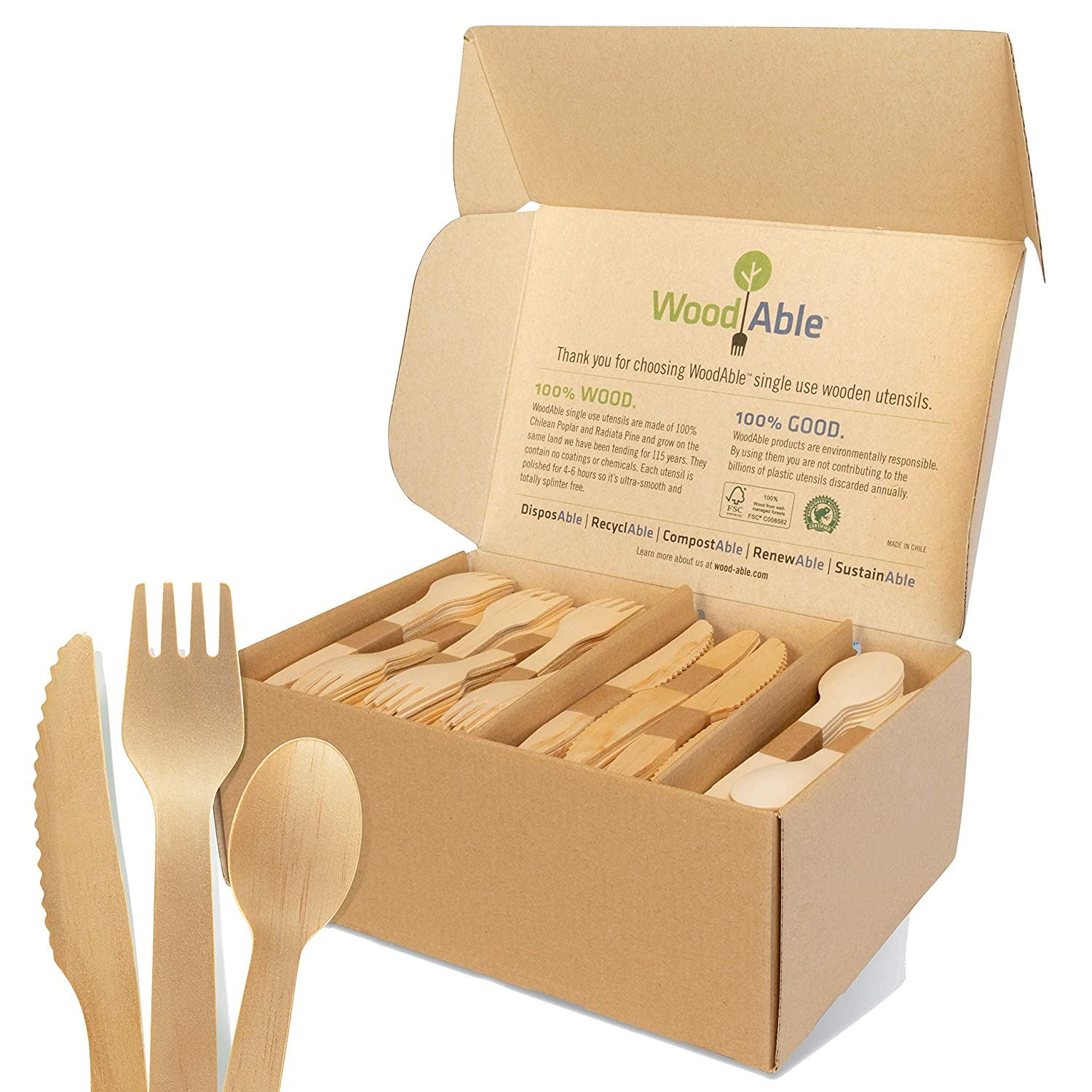 WoodAble - Disposable Wooden Forks, Spoons, Knives Set   Alternative to Plastic Cutlery - FSC Certified - Eco Biodegradable Replacements - 100% Wood - (480 Count - 240 Forks, 160 Knives, 80 Spoons)
