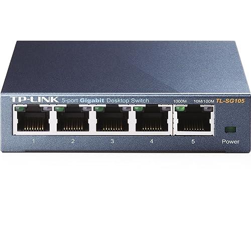 TP-Link TL-SG105 - Switch de red con 5 Port Gigabit 10/100/1000 Mbps (acero inoxidable, sin configuración)