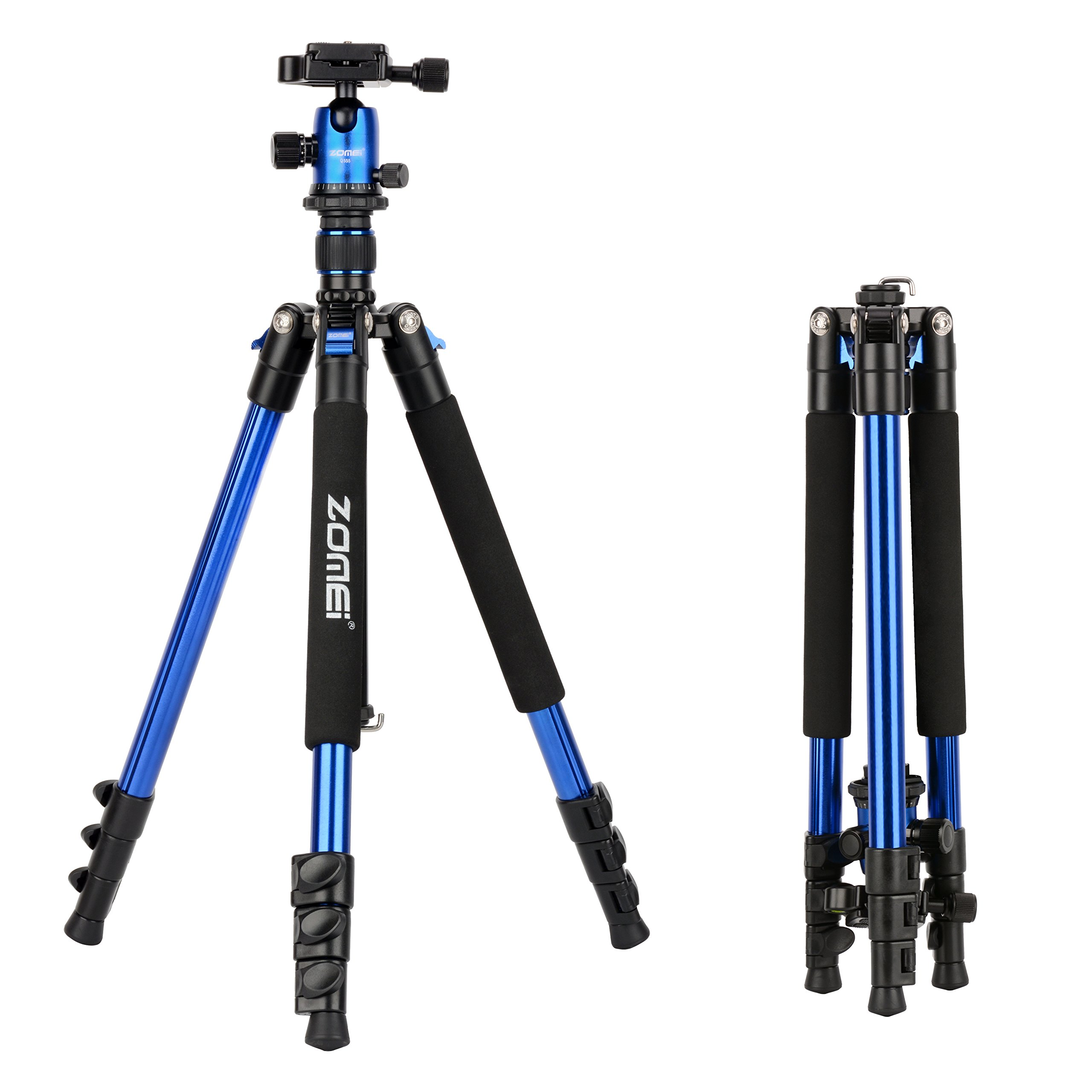 ZOMEi Q555 Lightweight Alluminum Alloy Camera Tripod with 360 Degree Ball Head + 1/4'' Quick Release Plate For Canon Nikon Sony Samsung Panasonic Olympus Fuji DSLR And Camcorders(Blue)