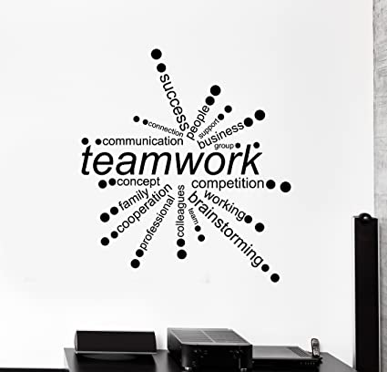Incroyable Large Vinyl Wall Decal Teamwork Words Office Decor Business Stickers  (ig4342) Dark Blue