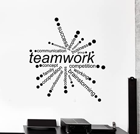 Large vinyl wall decal teamwork words office decor business stickers ig4342 dark blue