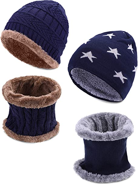 Leinuosen 4 Pezzi Bambini Cappello Inverno Sciarpa Set Pelliccia a Maglia  Cranio Cappuccio e Scaldacollo per 05b14f55b470