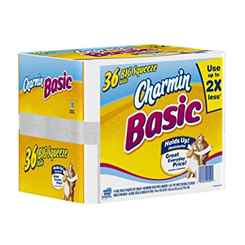 Amazon.com: Charmin Basic Toilet Paper 36 Big Squeeze Rolls ...