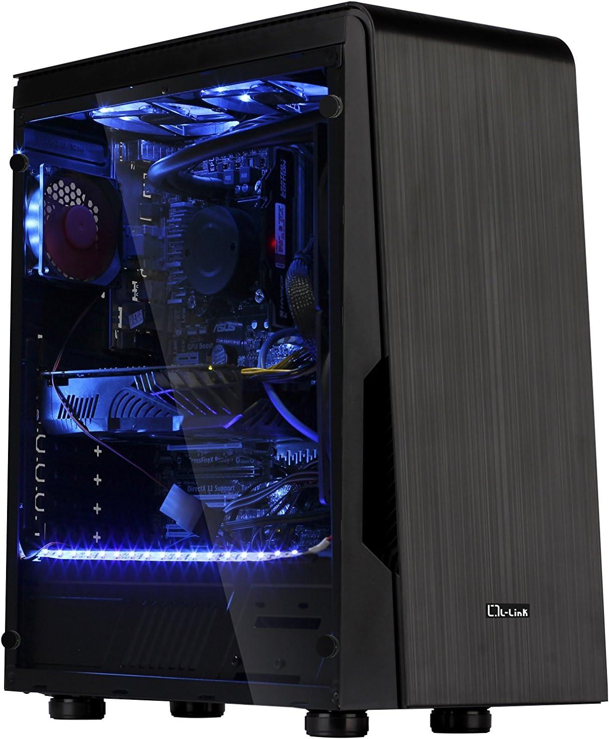 L-Link ATX - Caja sin Fuente con Lateral Transparente + USB 3.0, Color Negro: Amazon.es: Informática