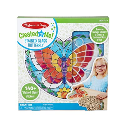 Melissa & Doug Created by Me! Peel-and-Press Stained Glass Butterfly Craft Kit: Toys & Games