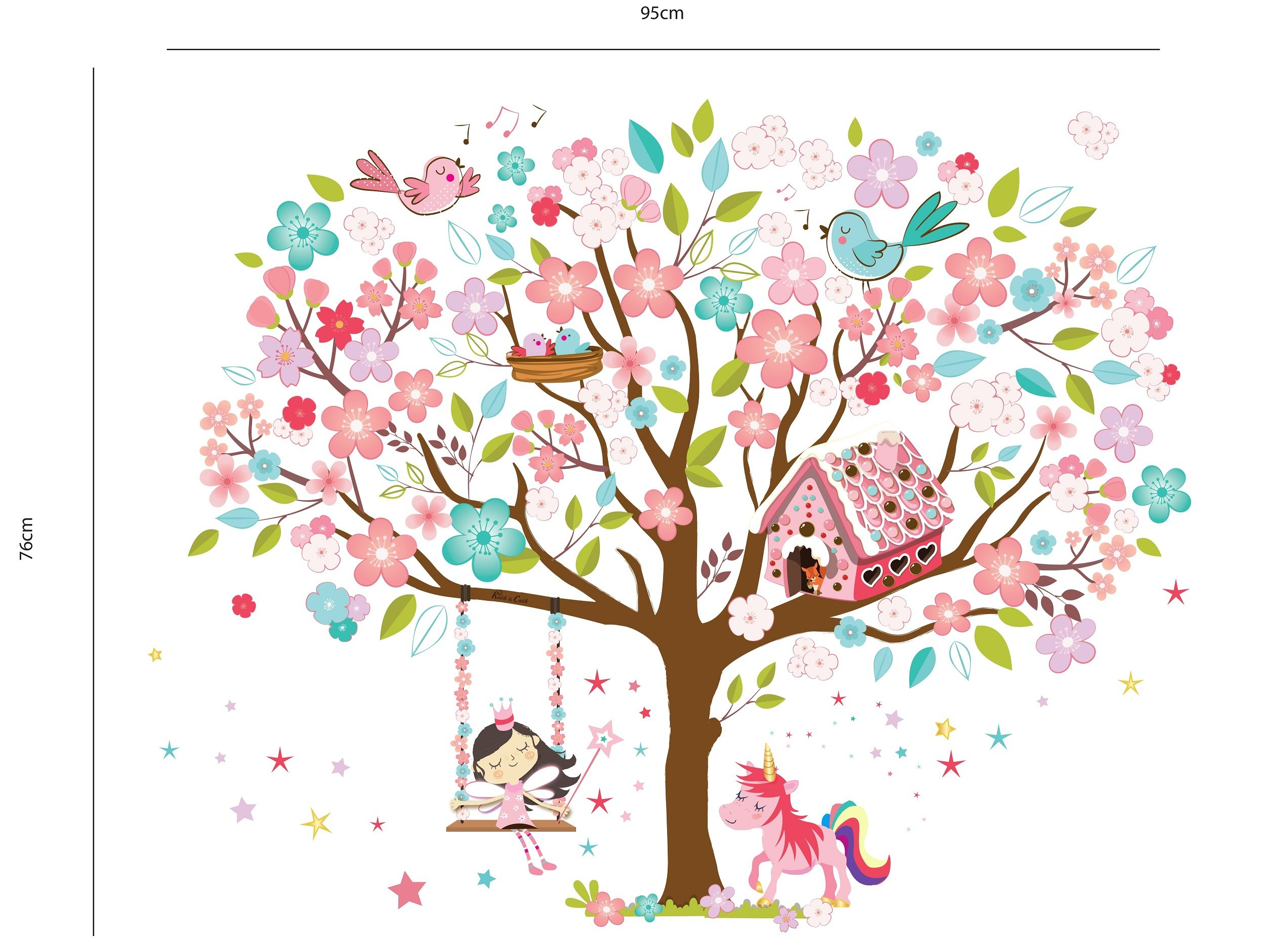 Kath & Cath Rainbow Unicorn, Pink Fairy, Gingerbread House, Singing Birds and Cherry Blossoms Tree Wall Stickers -Kids… 4