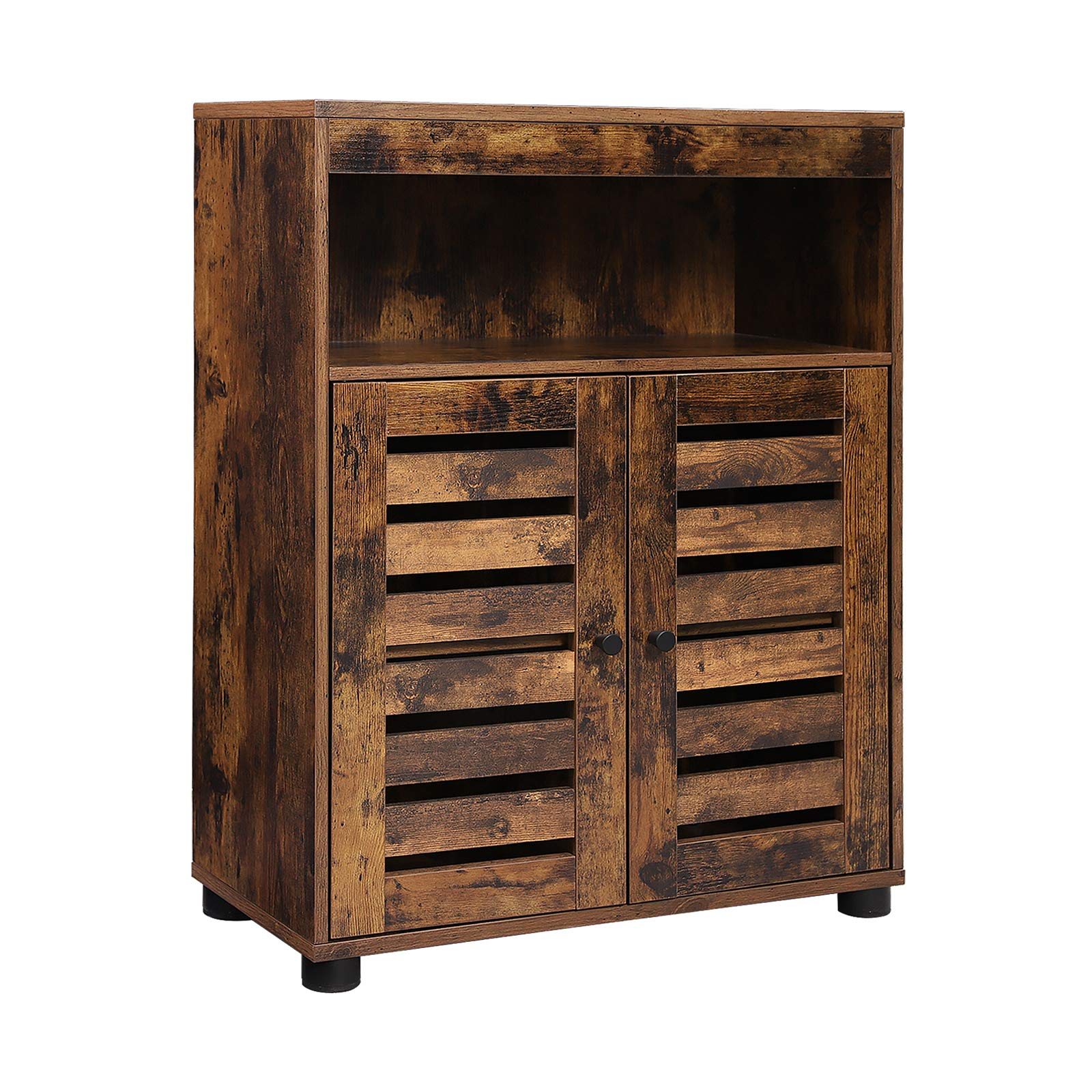 VASAGLE Storage Cabinet, Storage Cupboard, Rustic Chic Style, 60 x 30 x 80 cm, with Louvred Doors, Open Compartments, Adjustable Shelf, Rustic Brown BBK44BX
