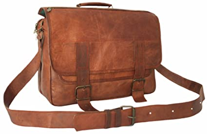 752c39d07 15 Inch Leather Vintage Rustic Crossbody Messenger Courier Satchel Bag Gift  Men Women ~ Business Work