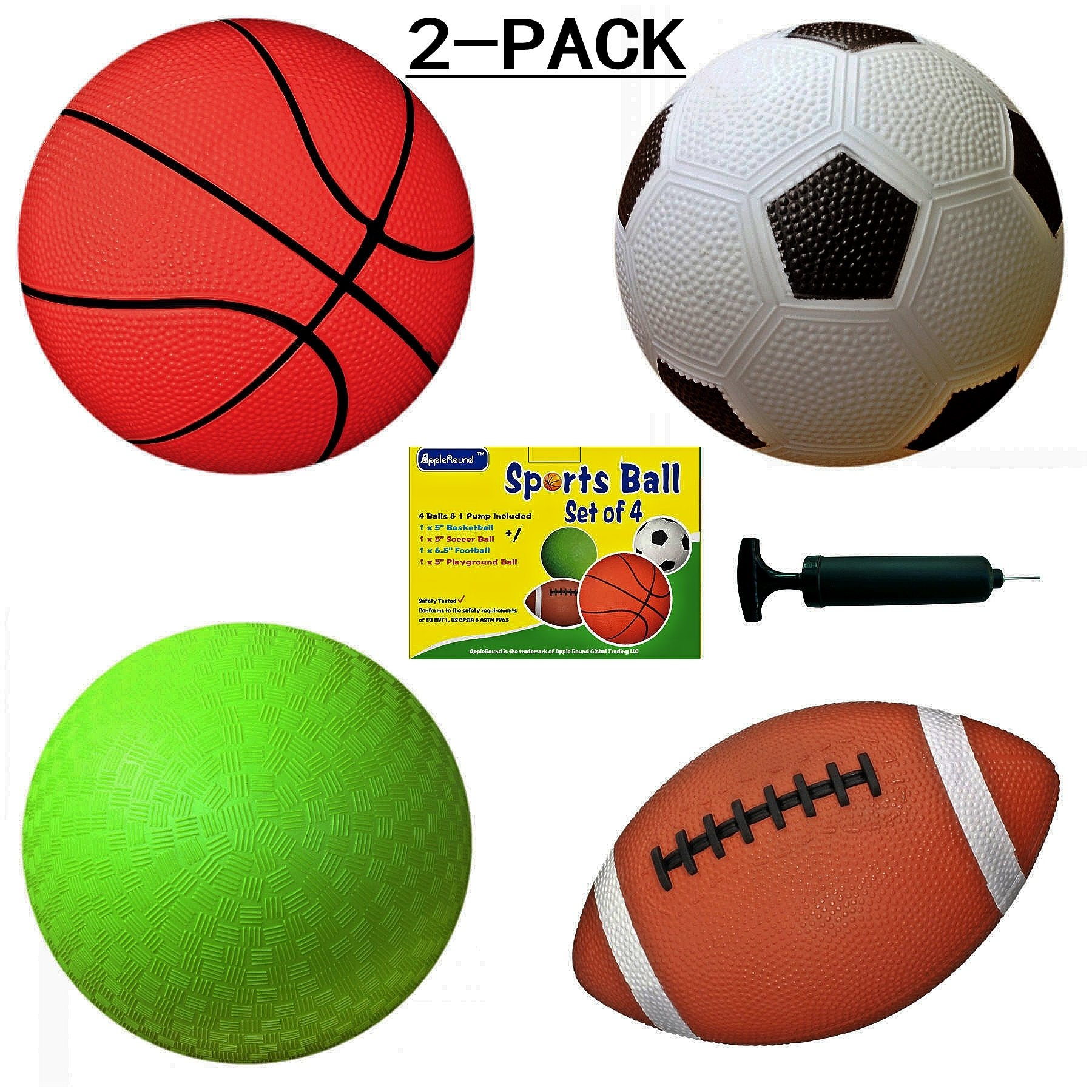 AppleRound 2-Pack: Each Pack Includes 4 Sports Balls and 1 Pump, 5'' Soccer Ball, 5'' Basketball, 5'' Playground Ball, 6.5'' Football