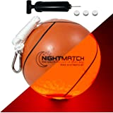 NIGHTMATCH Light Up LED Tetherball - Official Size - Extra Pump and Batteries - Perfect Glow in The Dark Tetherball Toy with
