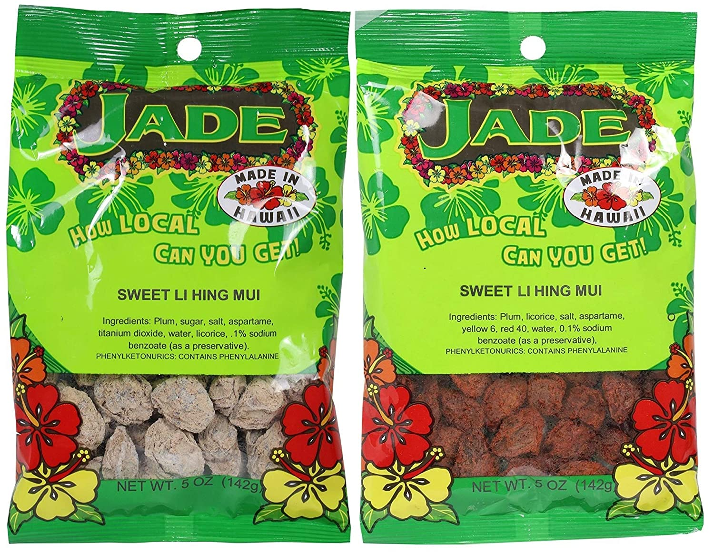 Sweet Li Hing Mui Dried Red Plums & Sweet Li Hing Mui Dried White Plums 2 Pack with free Custom Made In Hawaii Sticker Jade Brand