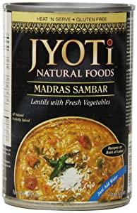 Jyoti Natural Foods Madras Sambar, Yellow Lentils with Vegetables, Vegetarian, 425 Gram Cans (Pack of 12)